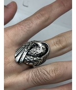 Vintage Hawk Ring Silver White Bronze Mens Size 13 - $39.60