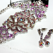 Victorian Vintage Austrian Crystal Pink Aurora Borealis Choker Necklace Ab Set - $20.99