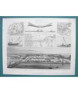 NAVY PORTS Canals Bremerhaven Suez Marseille - 1870s Superb Print - $33.66