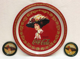 Coca Cola Tray Red Victorian Woman in Large Hat w/ 2 Coasters Metal Tin ... - $12.86