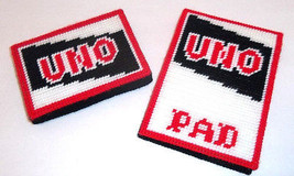 UNO Card Holder & Scoring Pad Cover in Plastic Canvas + Cards & Pad Hand... - $9.49