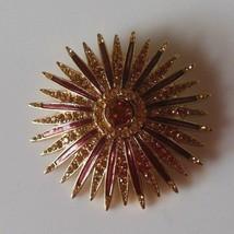 Vintage Monet Gold-tone & Amber-tone Rhinestone Enamel Starburst Brooch  - $26.72
