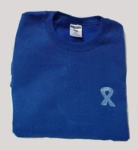 Colon Ovarian Cancer Sweatshirt Ribbon 2XL Royal Blue Crew Neck Unisex New - $26.16