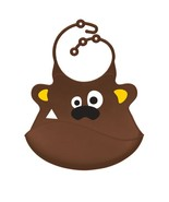 Brown Bear Silicone Baby Bib - CPSIA Compliant Bib - Reusable Toddler Bib - $17.99