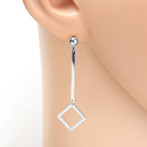 Contemporary Silver Tone Designer Drop Geometric Earrings with Dangling Accent - $16.99