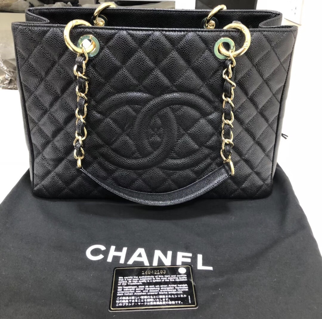 AUTH CHANEL QUILTED CAVIAR GST GRAND SHOPPING TOTE BAG GOLD HW