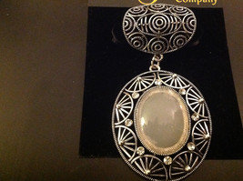 Vintage Style Silver Tone Clear Crystals and Large White Stone Scarf Pendant image 2
