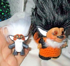 "MAMA and BABY FOXES Trolls Vintage 3"" ooak dolls customized set lot of 2 - $32.67"
