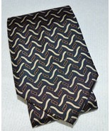 VTG FENDI Cravette Cream Black Taupe Geometric 100% Silk Necktie Tie - $49.49