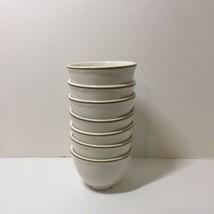7 Custard Bowls Soup Cups Homer Laughlin Best China Oatmeal Brown Band 3... - $29.02