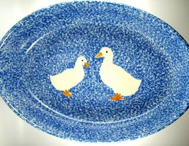 Vintage N.S. Gustin Los Angeles Pottery Blue Sponge Wear Duck Meat Pan 1... - $34.65