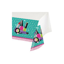 Sparkle Spa Birthday Party Tablecover 54 x 102 Beauty Makeup Icons Border - $7.59
