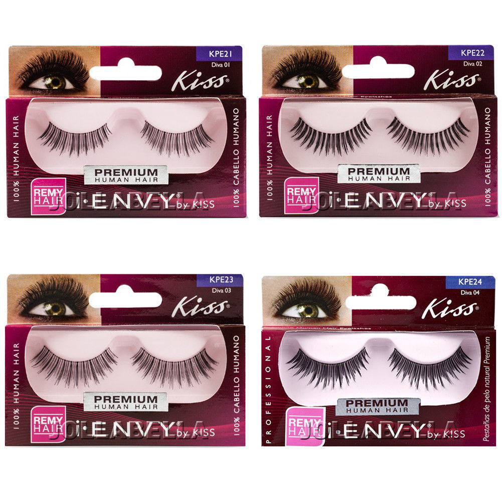 141428d96ba Kiss i Envy Human Hair False Eyelashes Strip Natural Eye Lashes - Diva *1  Style