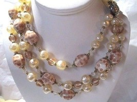 VINTAGE TRIPLE STRAND LUCITE NECKLACE FAUX PEARL CRYSTAL ACCENTS FANCY C... - $36.00