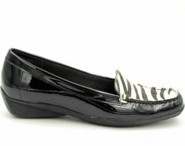 Anne Klein Maverdani Women Slip On Loafer US 6M Black Patent Leather Zebra Print - $19.98