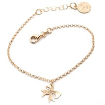 Silver Bracelet 925 Laminated in Rose Gold le Favole with Bow AG-901-BR-52 - $67.53