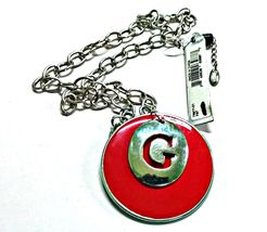 GUESS Red Enamel Pendant Necklace on Silvertone... - $9.99