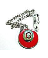 GUESS Red Enamel Pendant Necklace on Silvertone Chain 19 Inches Long NWT - $9.99