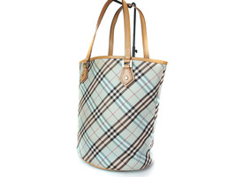 Auth BURBERRY LONDON BLUE LABEL Nylon Canvas, Leather Light Blue Tote Bag  - $139.00