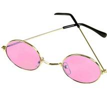 Groovy Hippie Funky Novelty ROUND COSTUME GLASSES Retro Lennon Gold Fram... - £4.25 GBP