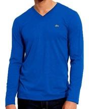 Lacoste Men's Long Sleeve Premium Pima Cotton V-Neck Shirt T-Shirt Blue Size S