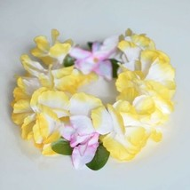 Premium Yellow Hawaiian Crown Lei Headband Paradise Petunia with Orchids... - $6.25