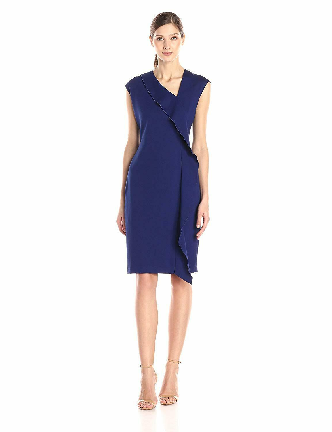 Primary image for New Anne Klein Women's Cap Sleeve Cascade Ruffle Sheath Dress Variety Color&Size