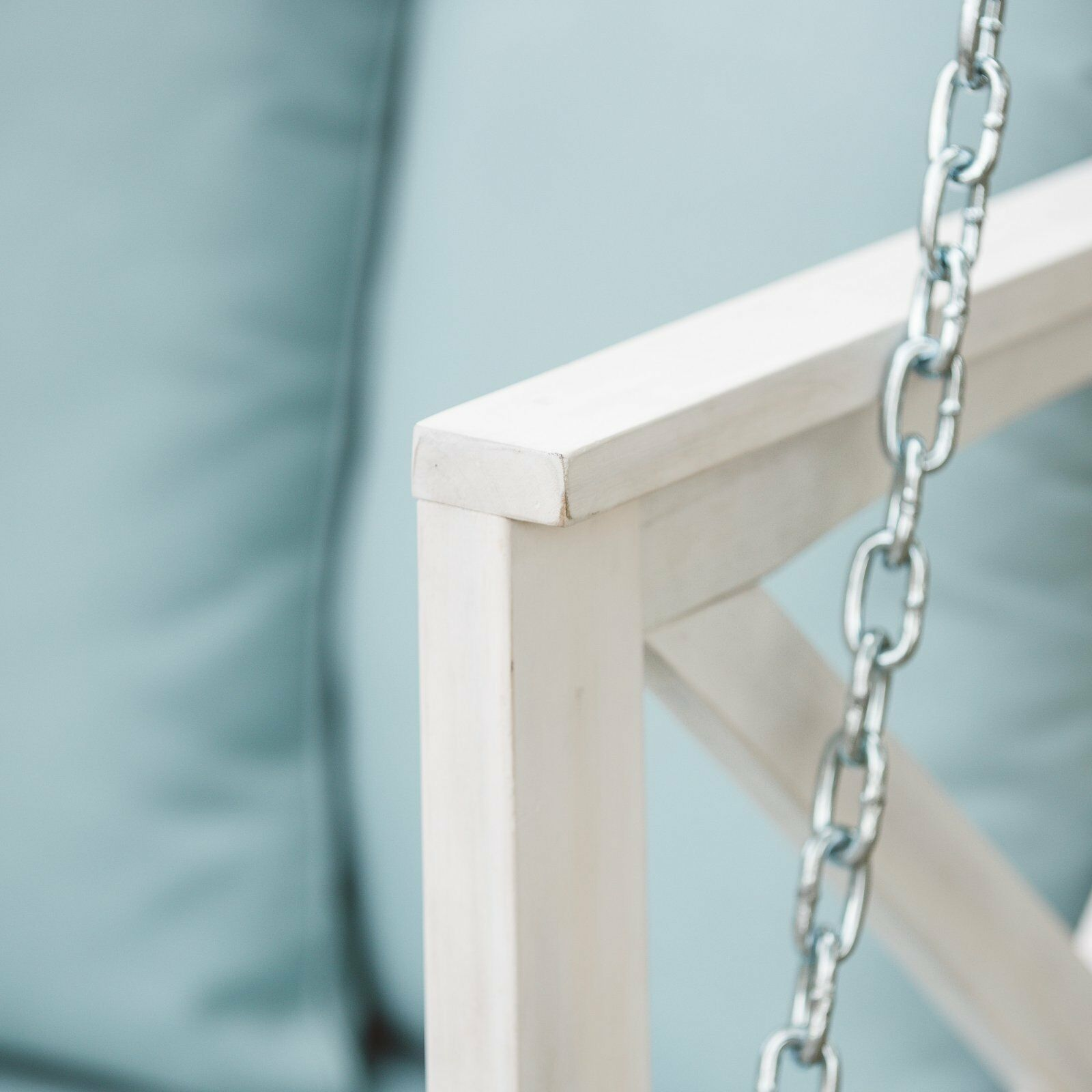 Country Farmhouse Shabby Chic White Wood Porch Swing Cushioned Outdoor Patio  image 5