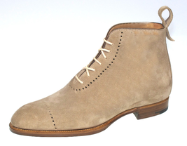Handmade Beige Suede High Ankle Lace Up Dress/Formal Boots For Men image 4