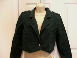 New pkg frederick's of hollywood dark green jeans crop Jacket Made i USA... - $23.75