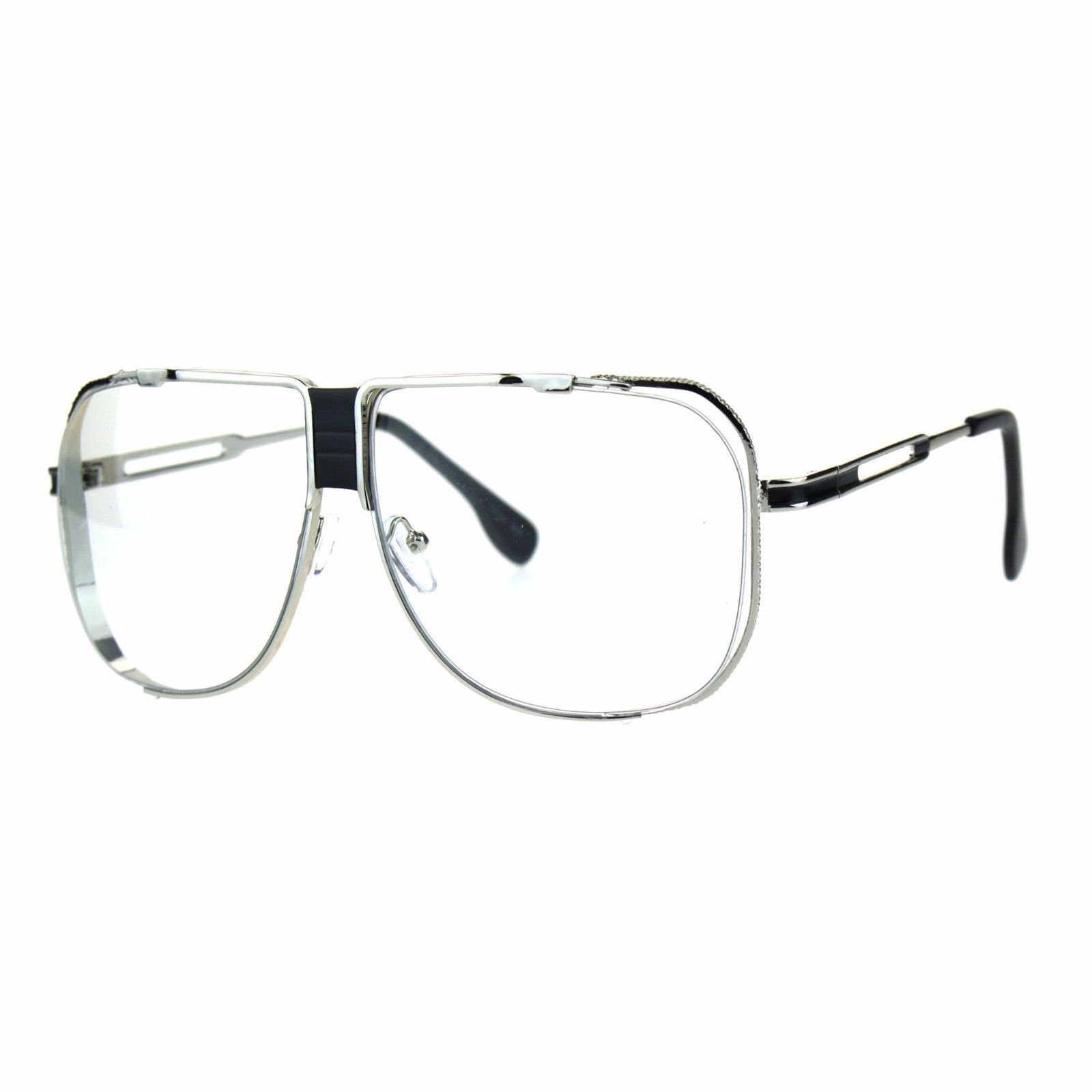 Clear Lens Fashion Glasses Vintage Oversized Square Metal Frame UV 400
