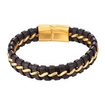 U7 Bracelet Stainless Steel Magnetic Buckle Genuine Men Braided Leather ... - $18.36