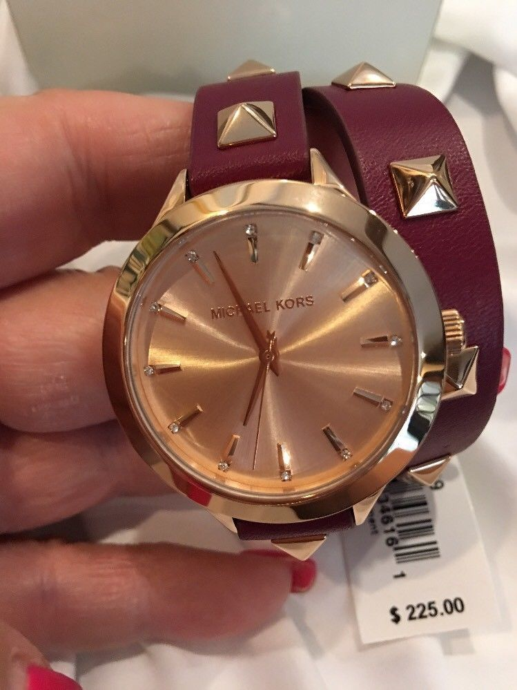 8c8fe03f7fe9 Michael Kors Women s Slim Runway Merlot Leather Double-Wrap Stud Watch  MK2699