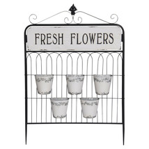Garden Gate Style Planter with Hanging Pots Fresh Flowers Metal Garden D... - $169.95