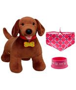 Build a Bear Dachshund Dog Pink Bandana Food Dish 16in. Stuffed Plush To... - $89.95