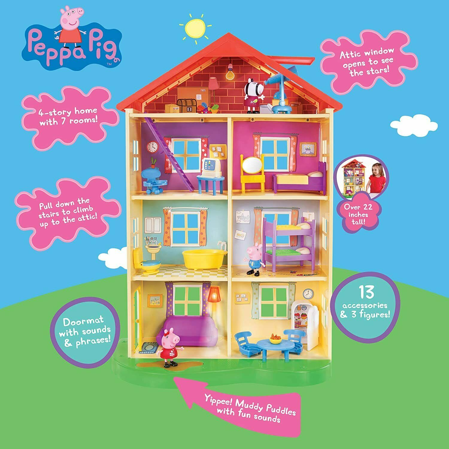 NEW SEALED Jazwares Peppa Pig Lights & Sounds Family Home Feature Playset - $118.79