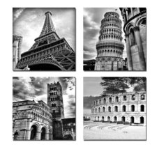 Art - Architectures Modern 4 Panels Giclee Canvas Prints Europe Building... - $59.95