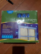 NEW 24 ft blue C9 indoor/outdoor lights (25 ct blue ceramic bulbs Christmas - $19.79