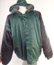 Vintage FILA Green & Black Parka Ski Coat Sports Jacket Fleece Lined Hoo... - $39.20