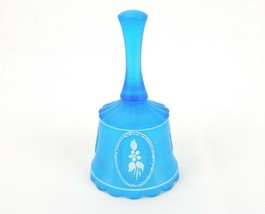 Blue Satin Glass Bell, Hand Painted Satin Glass Vintage Collectible Glas... - $14.65