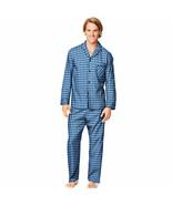 Hanes Men's Woven Pajama Set Long Sleeve & Pants Black Blue Plaid Size S... - $17.22