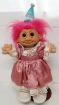 "12"" Russ Troll Pink Hair Custom Happy Birthday Girl Vtg Lucky Doll Lace ... - $23.75"