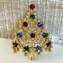 Vintage Signed Eisenberg Brooch With Multi Color Rhinestones Christmas Tree Pin - $29.99