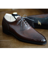 Burnished Maroon Color Oxford Pointed Brogue Toe Superior Leather Men Shoes - $139.90+