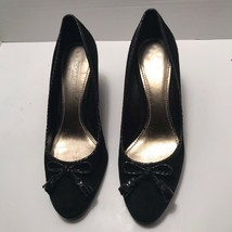 Coach Irene Suede Shoes Wedges Women's Size 8 Black Bow A3822 - $37.05