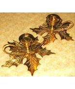 Set 2 Vintage Solid Brass Candle Stick Holder Pair Gold tone leaf loop h... - $19.79