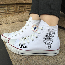 All Star Converse White Shoes Original Design Smoke Hand Eyes Chuck Sneakers - $119.00
