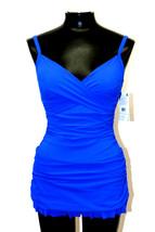 Profile By Gottex Swimsuit One Piece Ruched Ruffle hem Cobalt Blue Szie 8 D36 - $55.99