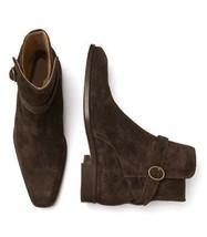 Handmade Men's Dark Brown Jodhpurs High Ankle Monk Strap Suede Boots image 4