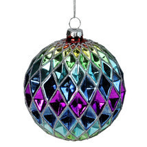 Rainbow Harlequin Designed Round Glass Christmas Ornament 3.5 (90mm) - tkcc - $29.95